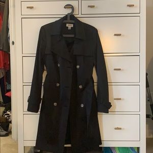 Talbots, black trench coat with belt